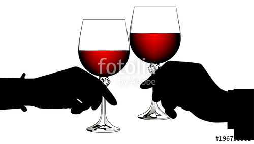 Black silhouettes of man\'s and woman\'s hands clink glasses.