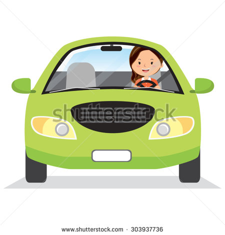 Woman Driver Going Fast Clipart.