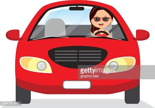 Young woman driving red car Clipart Image.