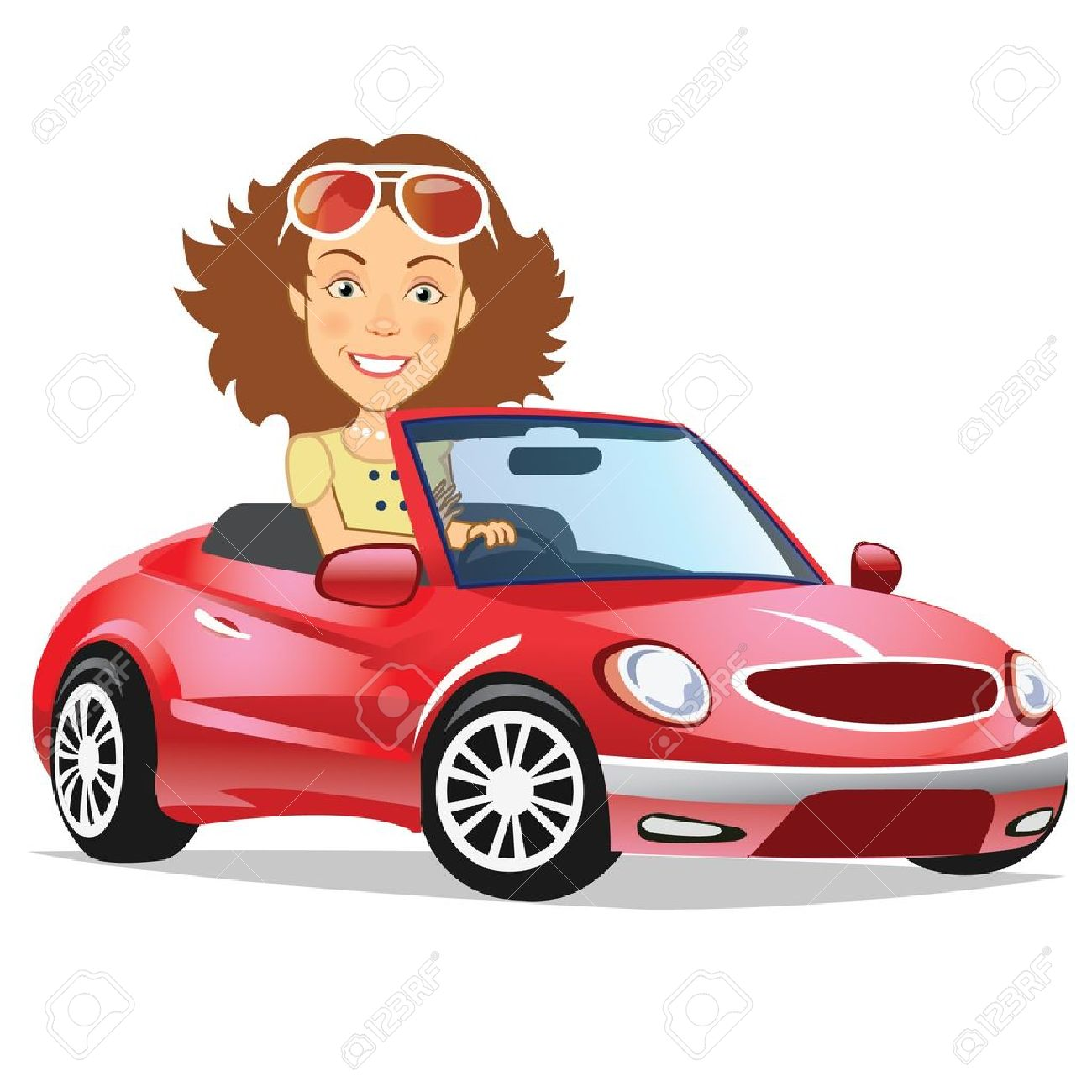 Girl Driving A Car Clipart.
