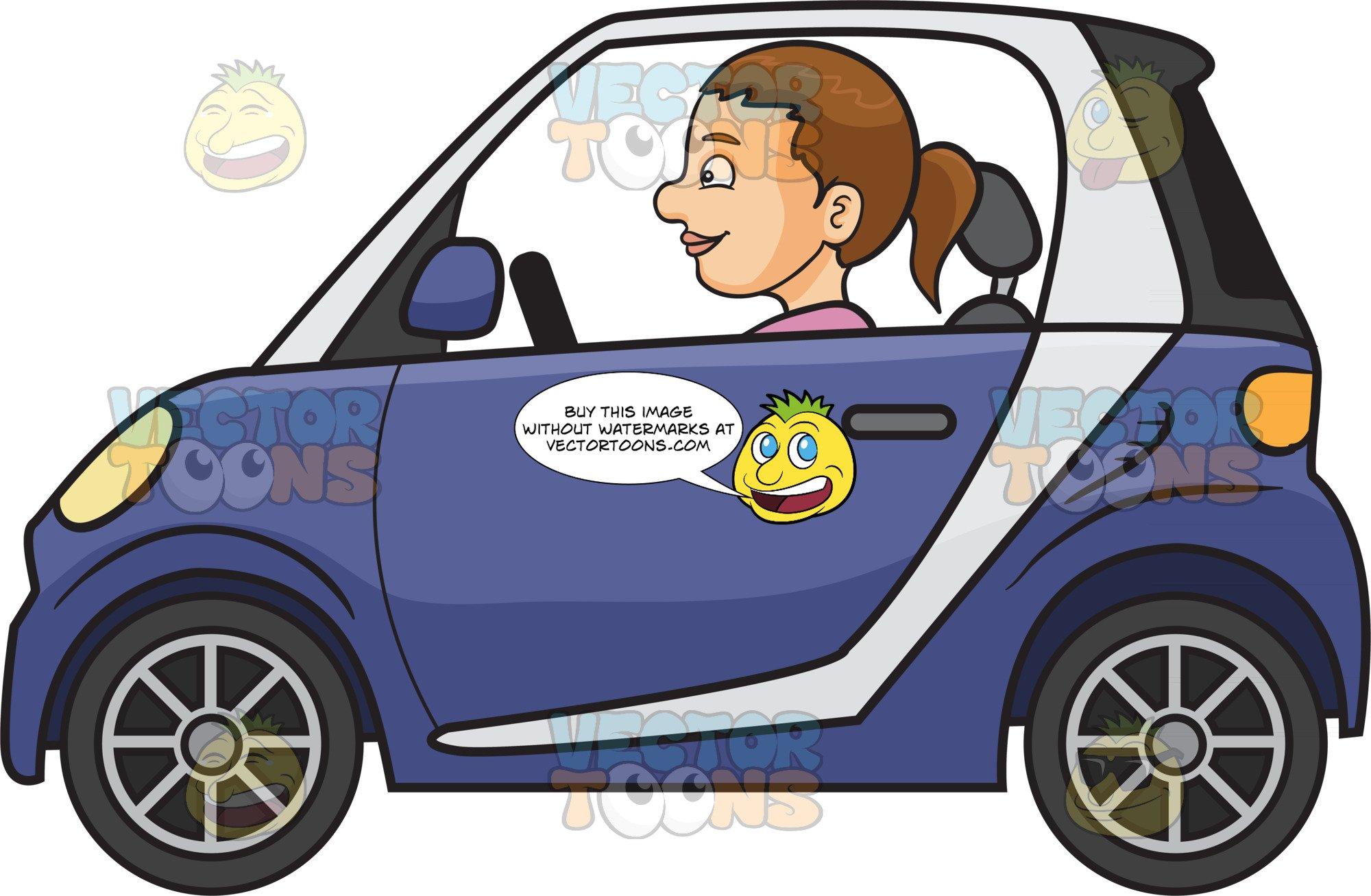 A Woman Driving A Smart Car.