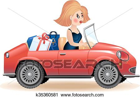 Surprised woman driving car Clipart.
