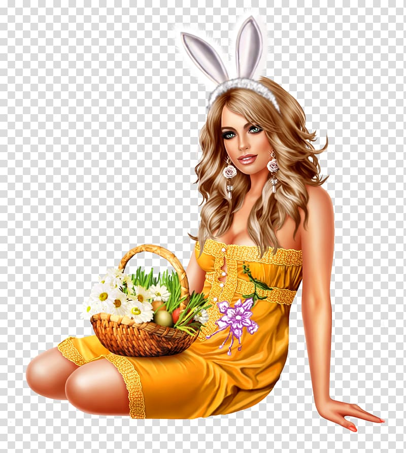 Easter Bunny Woman Christmas, Easter transparent background.
