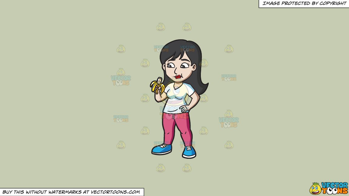 Clipart: A Woman Eating A Banana For Her Snack on a Solid Pale Silver  C6Ccb2 Background.