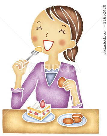 A woman eating cake or candy.