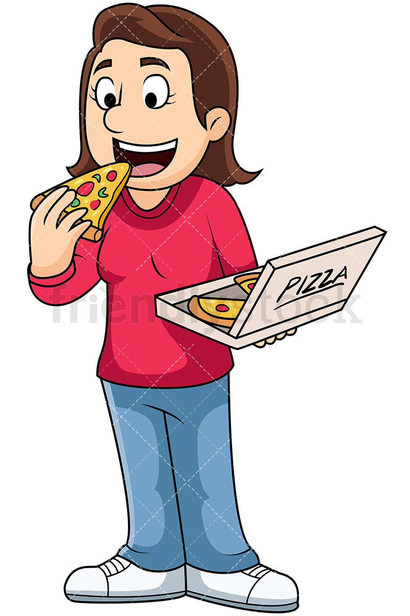 Woman Eating Pizza Slice From A Box.