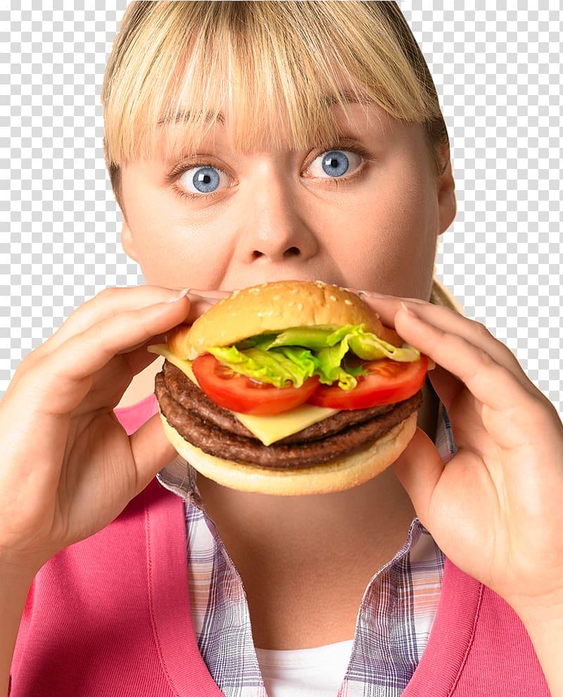 Woman eating hamburger , Hamburger Fast food Junk food.