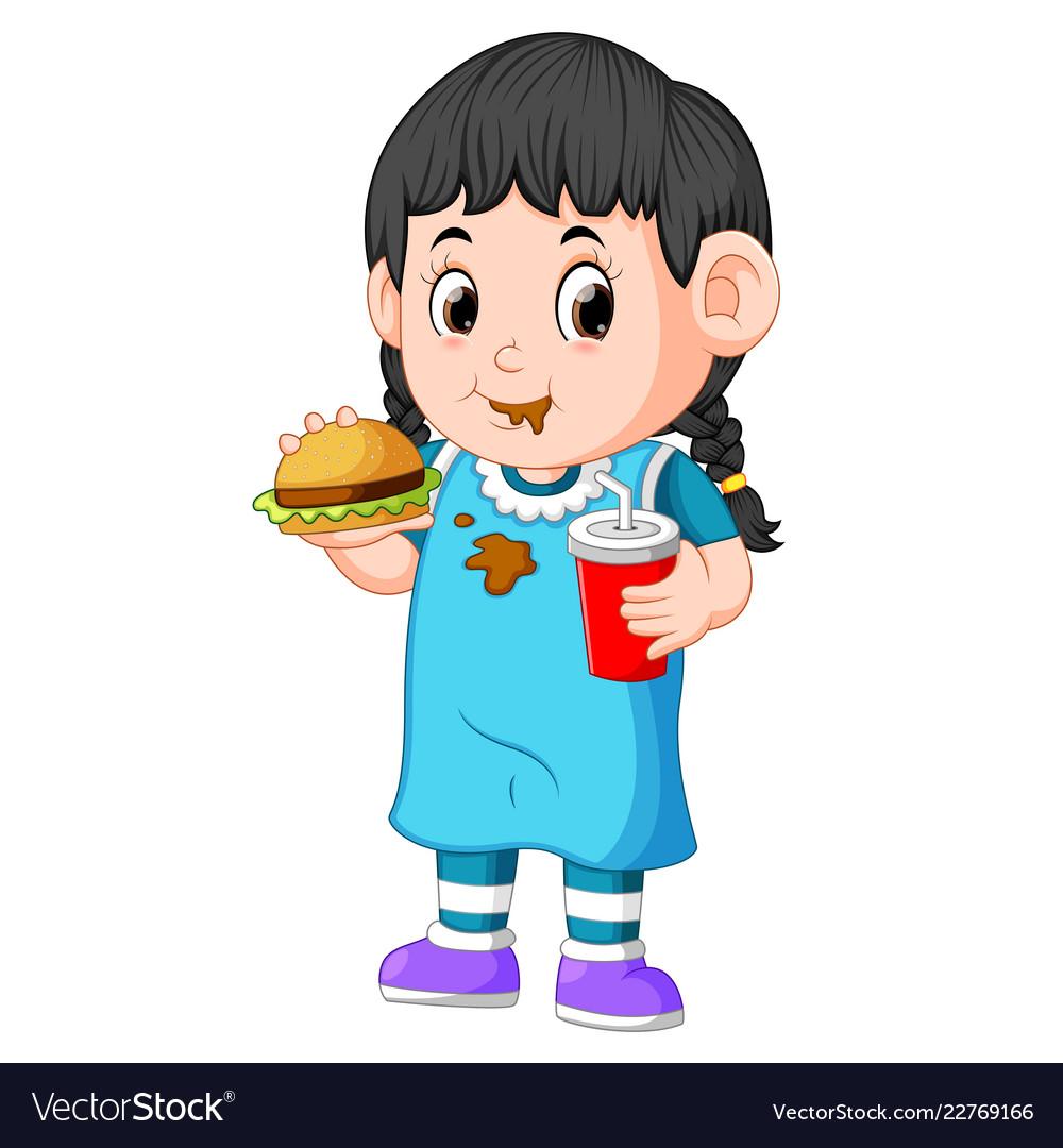 Girl eating fast food.