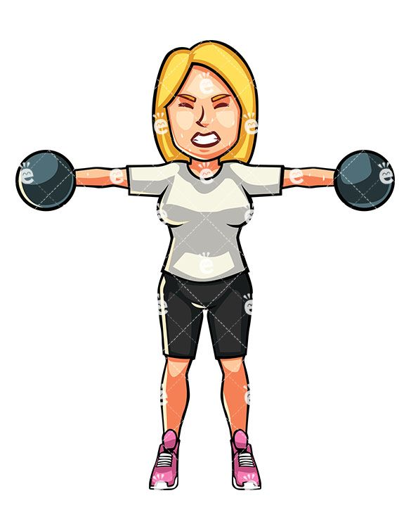A Blonde Woman Exercising With Dumbbells.
