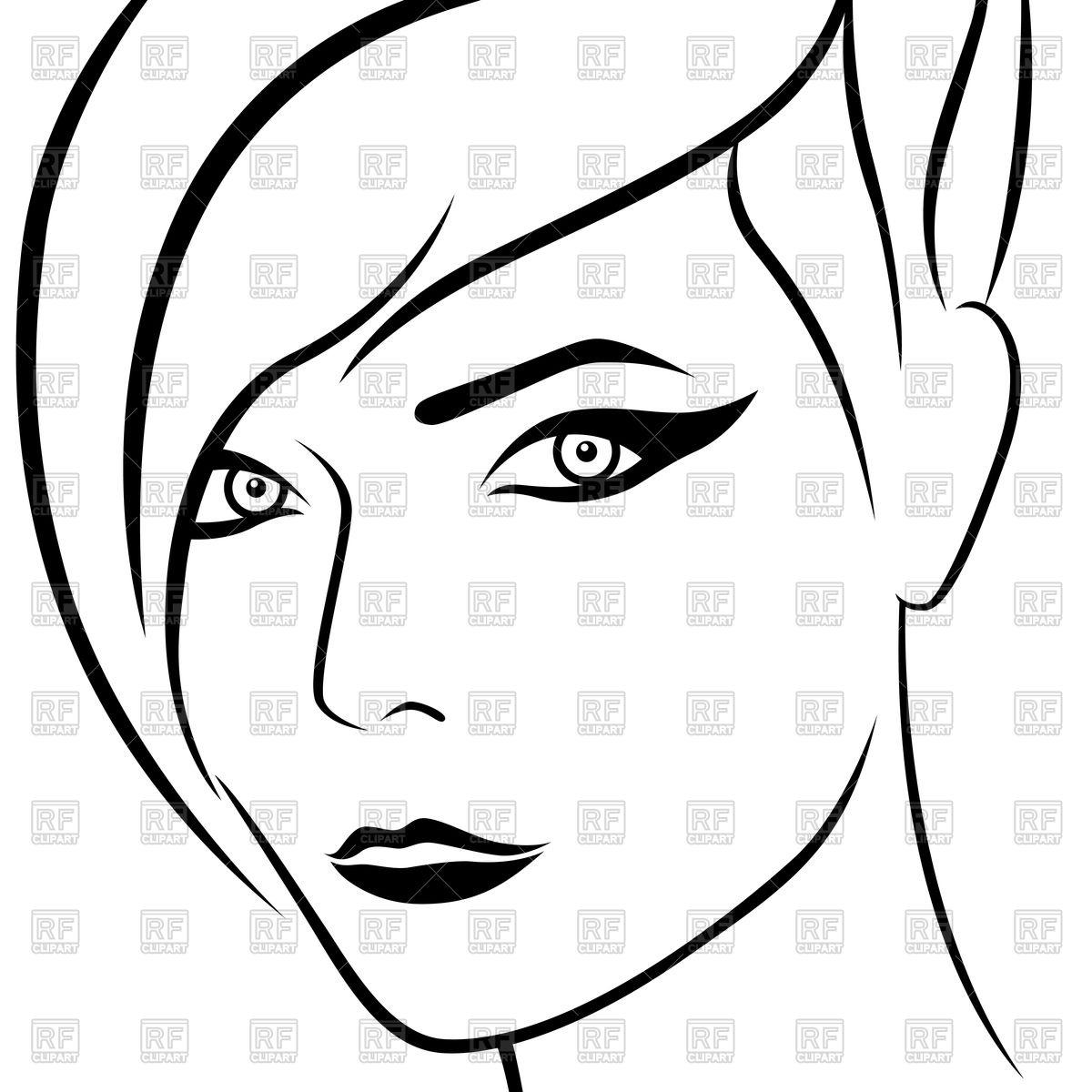 Girl Face Outline.