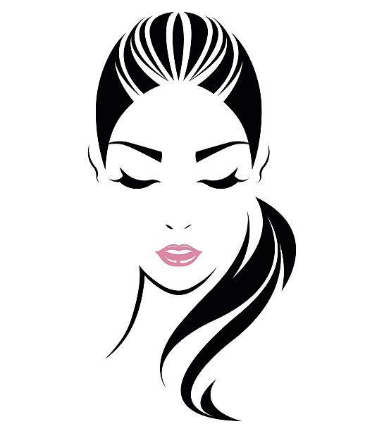 women long hair style icon, logo women face vector art.