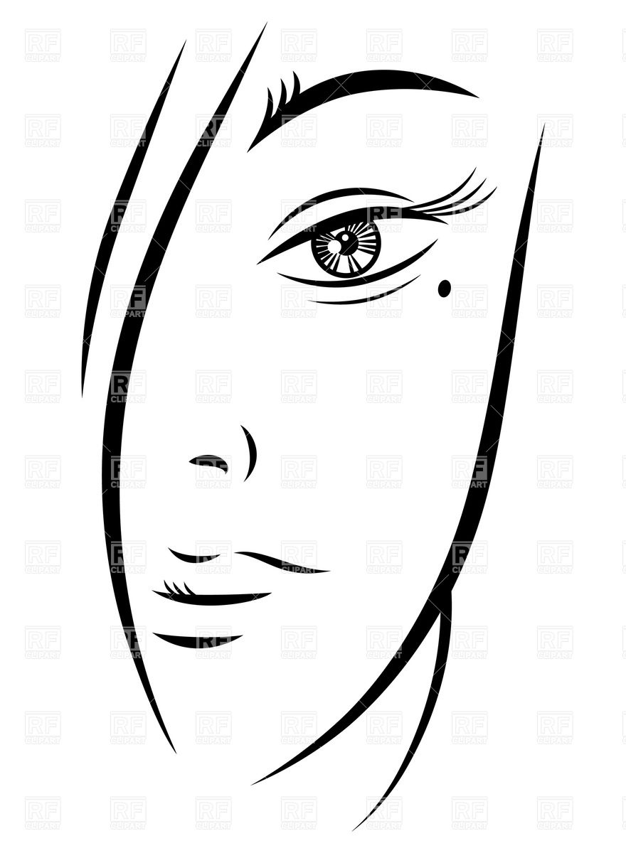 Woman Face Silhouette Outline.