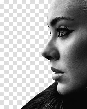 Adele, woman facing side view transparent background PNG.