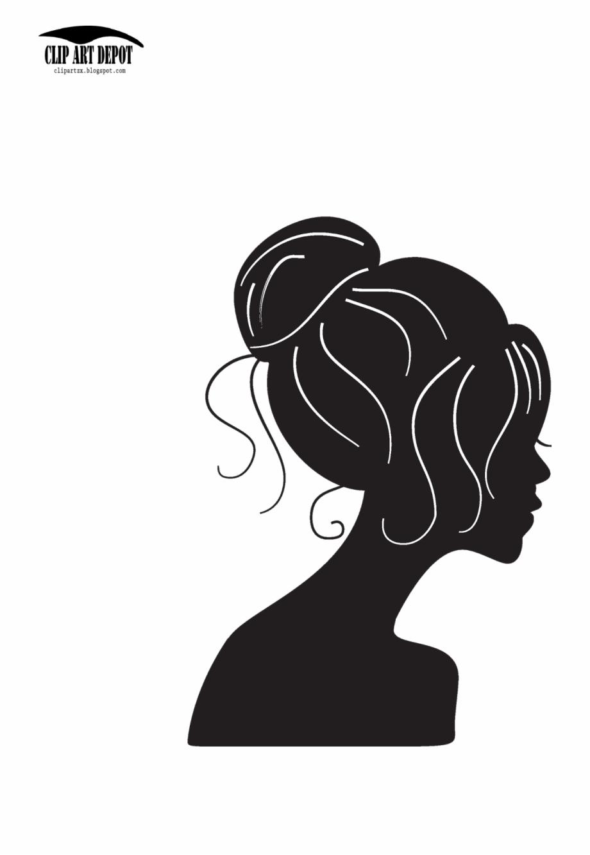 Woman Face Silhouette Clip Art.