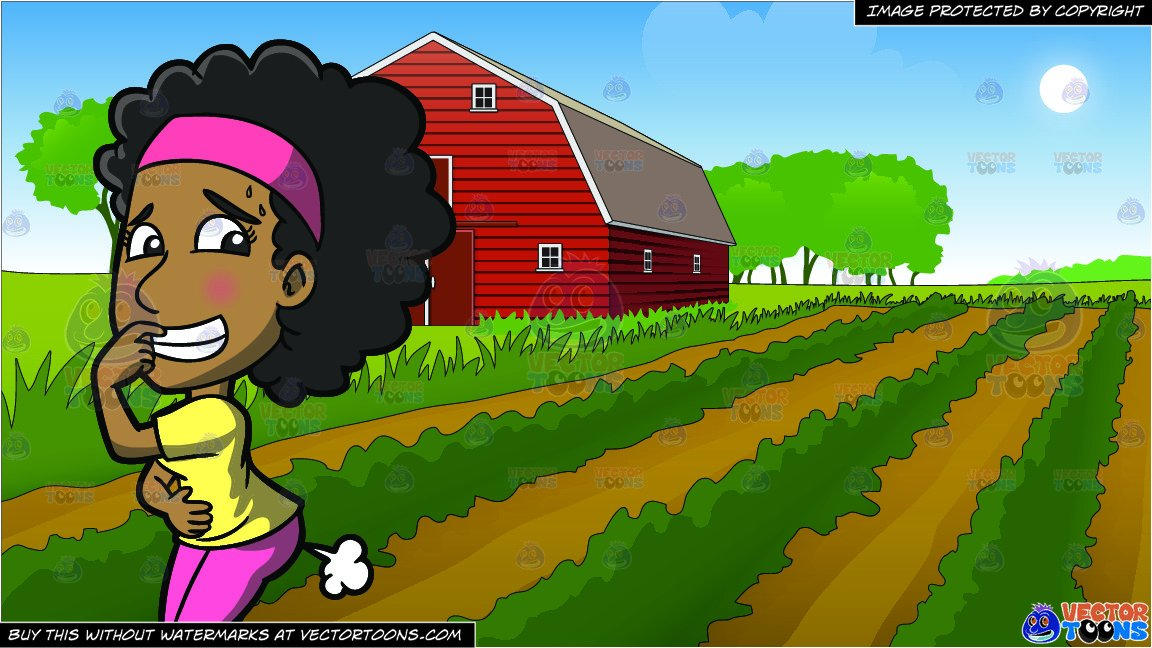 An Embarrassed Black Woman Farting Out Loud and Farm Field And Barn  Background.