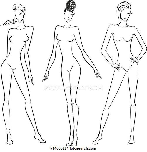 The sketch of women in different poses Clipart.