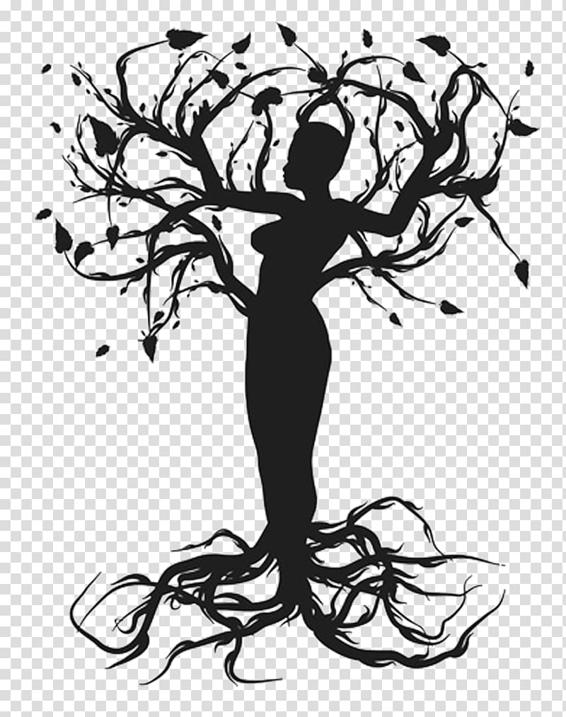 Silhouette woman tree illustration, Tree of life Drawing.