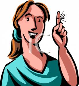 A Colorful Cartoon of a Woman with a String Tied Around Her.