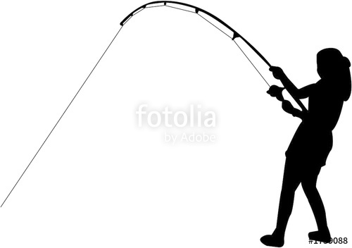 Girl Fishing Black And White Clipart.