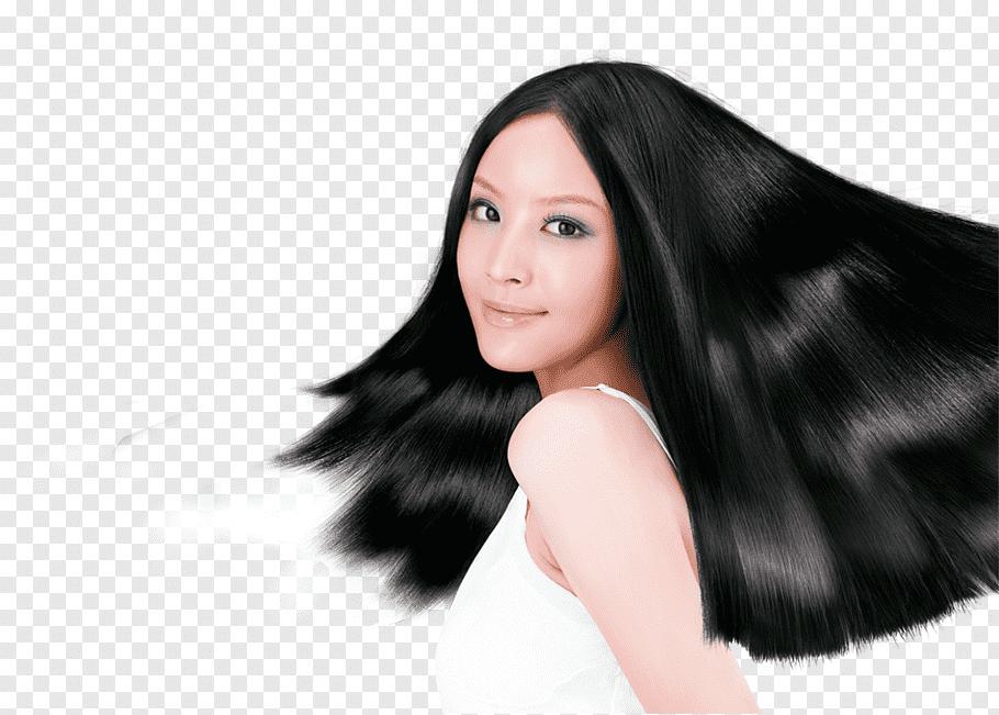 Hair dryer Shampoo Long hair Hair care, Model black hair.