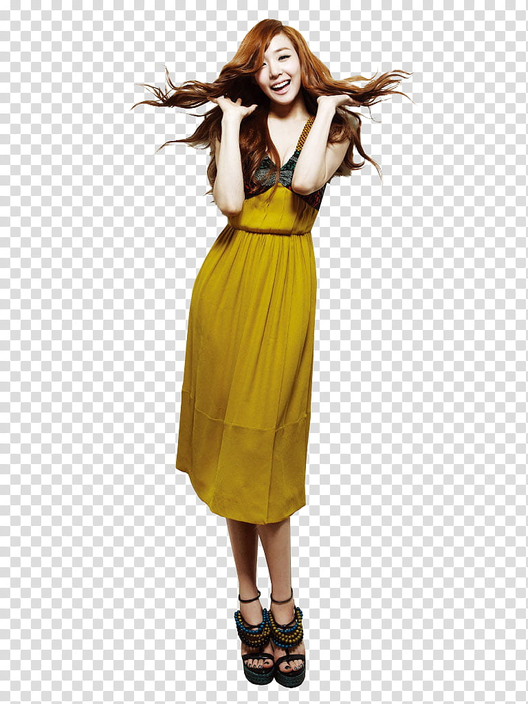 Tiffany, woman in yellow dress flipping her hair transparent.