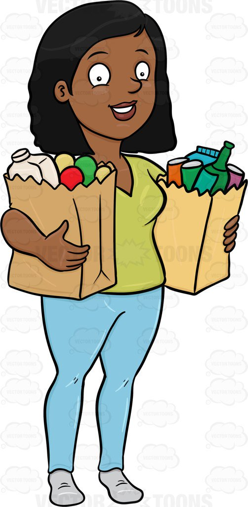 Woman Grocery Shopping Clipart.