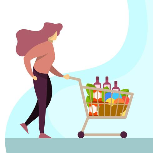 Flat Woman Shopping at Grocery Store With Trolley Vector.