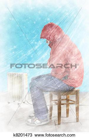 Stock Photo of Freezing man indoors k8201473.
