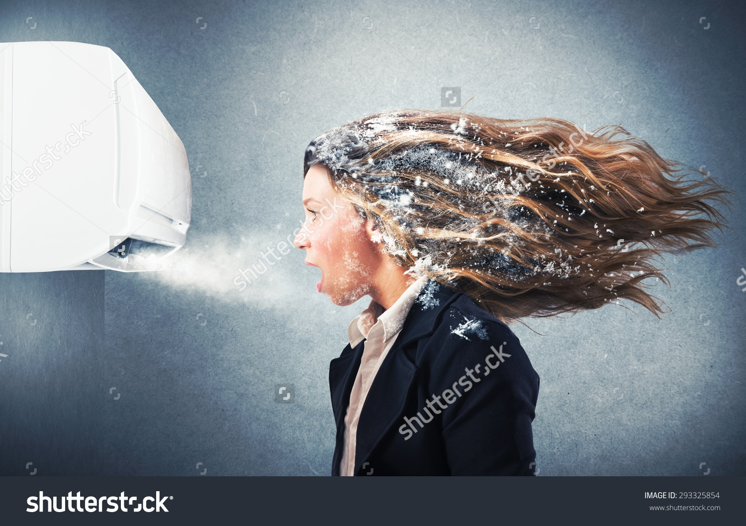 Woman Freezing Indoors Clipart.