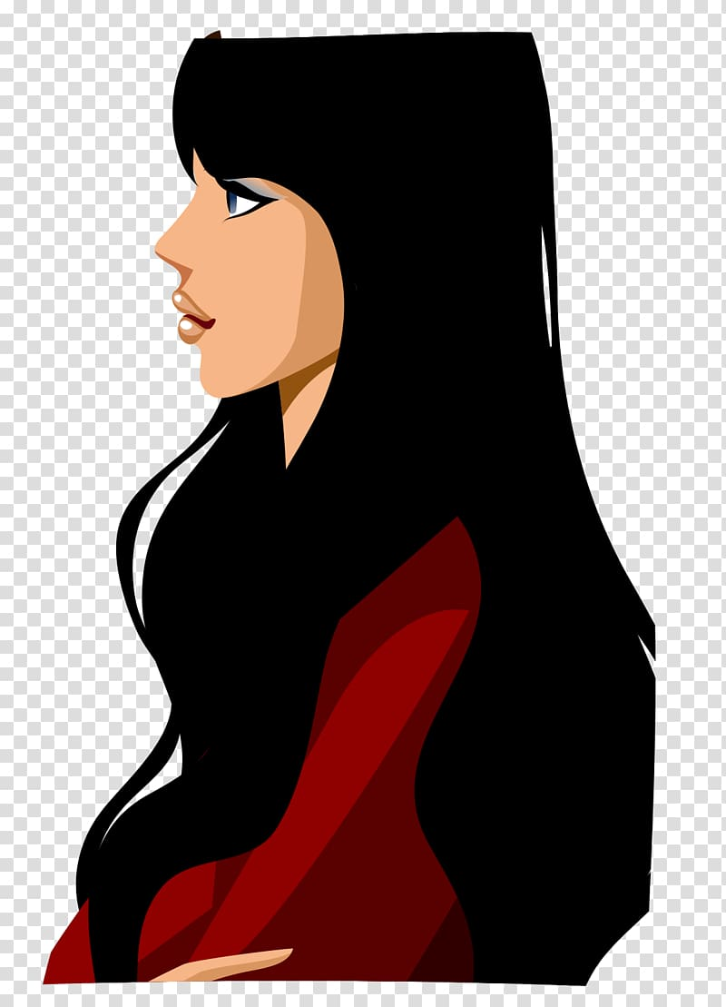 Woman looking side , Woman Cartoon Black hair Illustration.