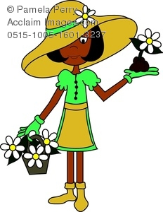 Clip Art Image of a Cartoon Woman in Gardening Clothes.