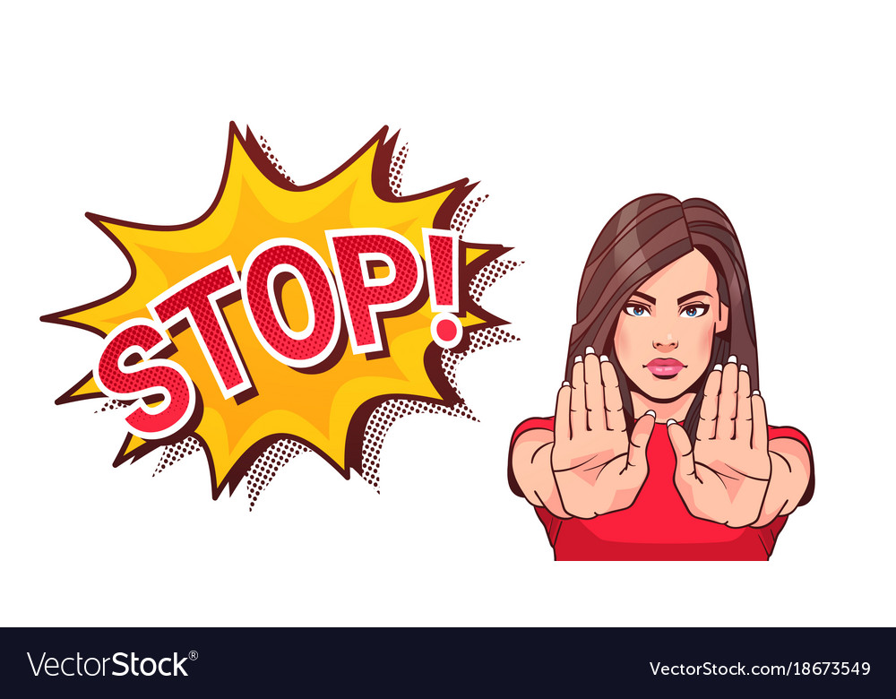 Woman gesturing no or stop sign showing raised.