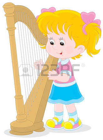 Playing Harp Clipart.