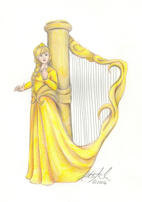 SciFi and Fantasy Art The Golden Harp by Christy Miller.