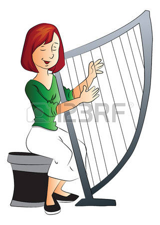 Woman Giant Playing Golden Harp Clipart.