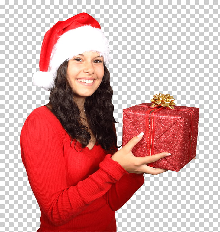 Santa Claus Woman Gift, woman holding red gift box PNG.