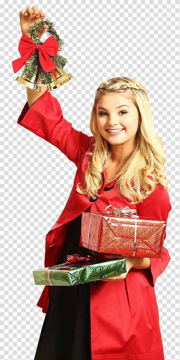 Stefanie Scott , woman holding red gift box transparent.
