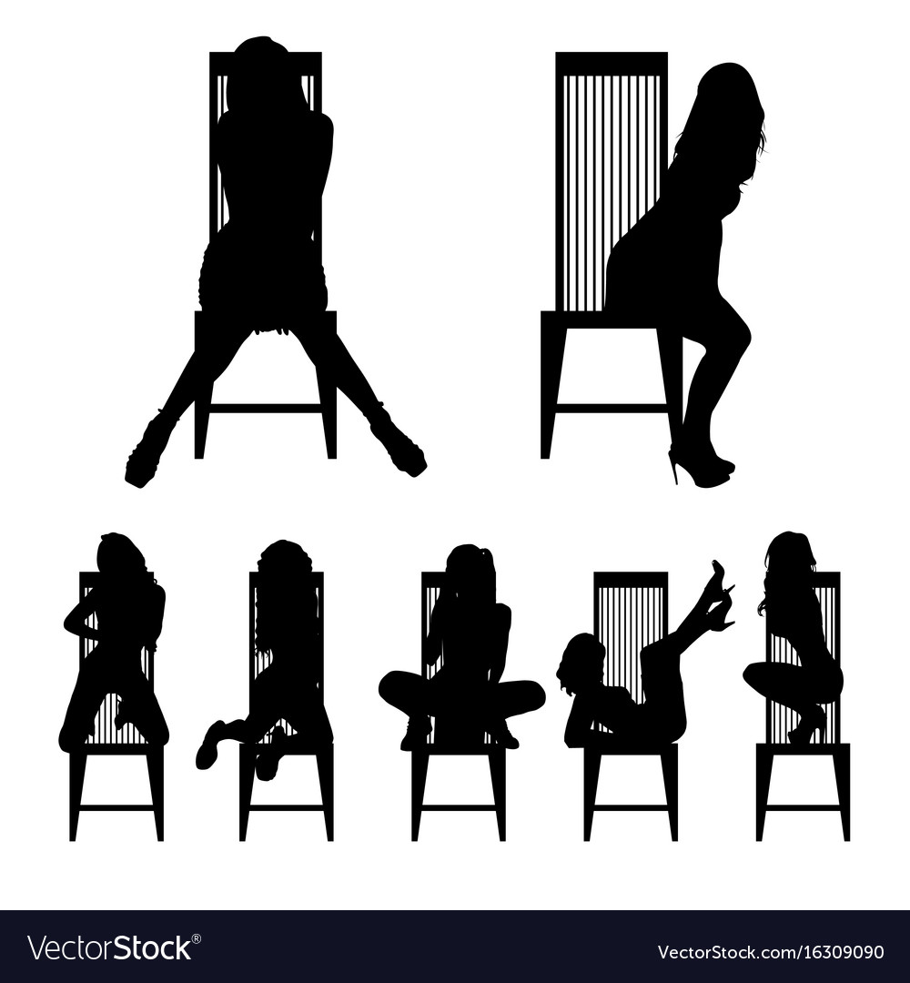 Girl silhouette set on chair in various poses.