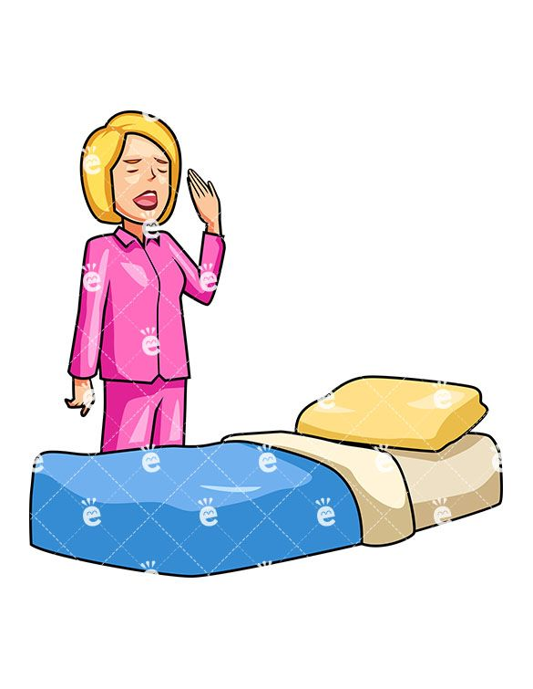 A Woman In Pajamas Yawning While Trying To Get Into Bed At.