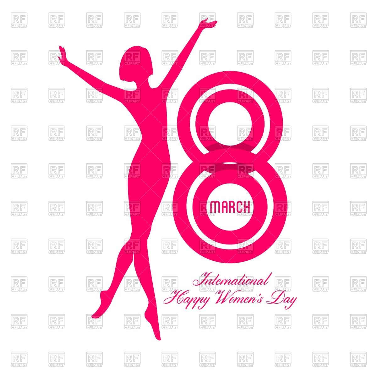 Happy Women Day greeting card with silhouette of woman Vector.