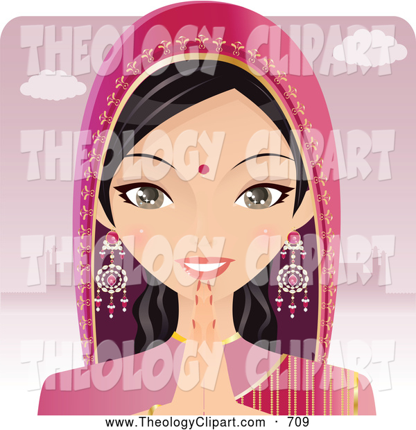 Clip Art of a Middle East Formal Indian Woman Greeting the Viewer.