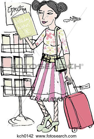 Clip Art of A woman at the airport buying a greeting card kch0142.
