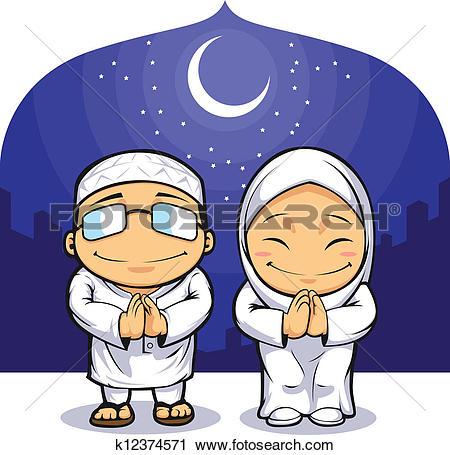 Clipart of Muslim Man Woman Greeting Ramadan k12374571.