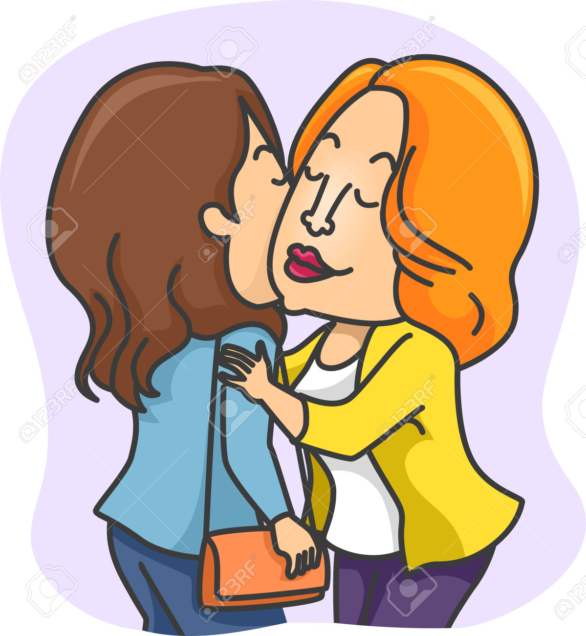 Illustration Of Women Greeting Each Other With A Kiss On The.