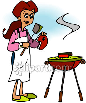 Woman grilling clipart 2 » Clipart Station.
