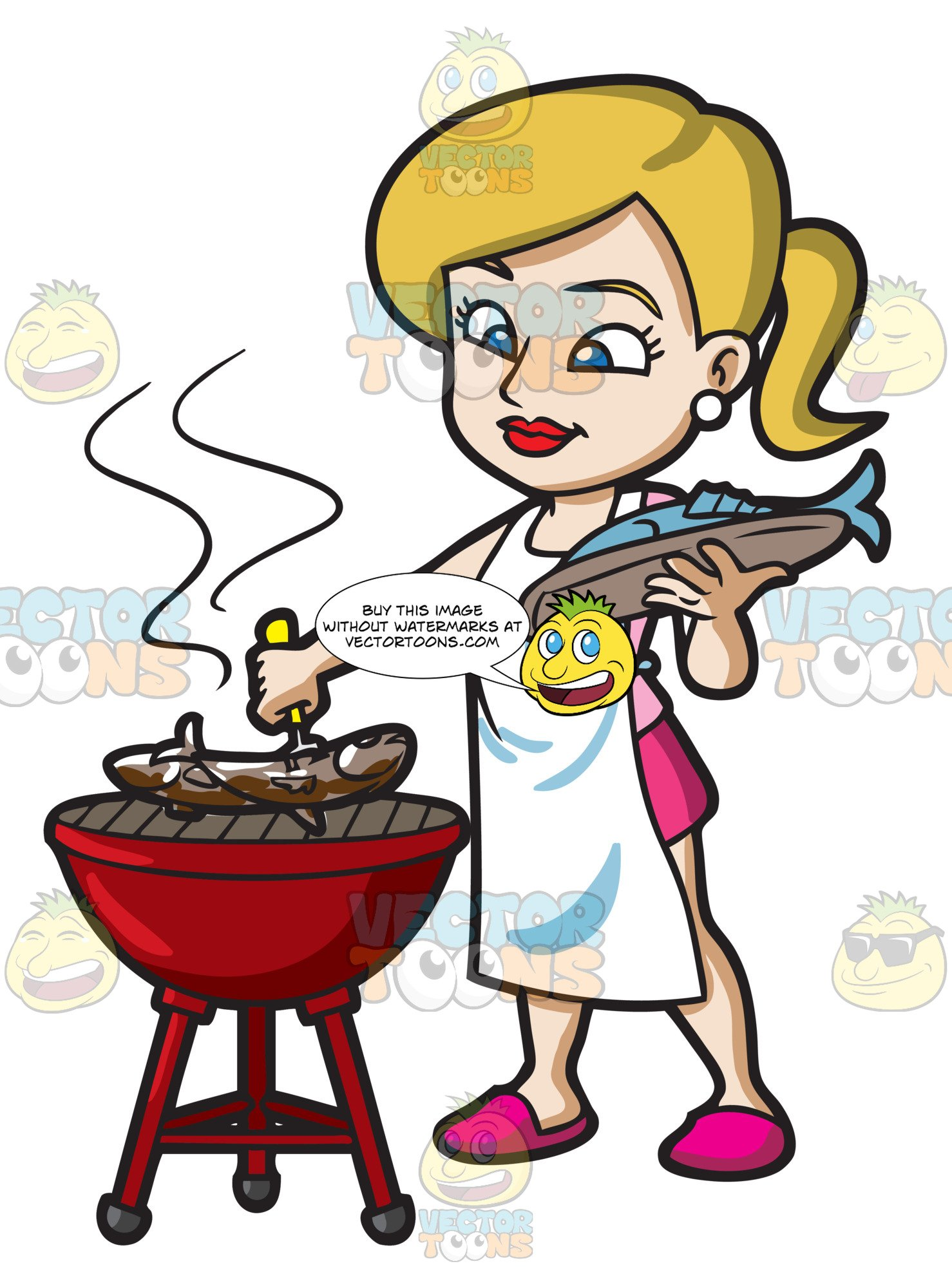 A Woman Grilling A Couple Of Fish.