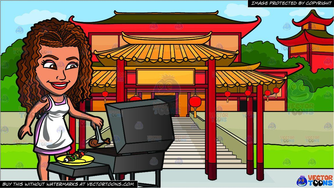 clipart #cartoon A Black Woman Grilling Chicken And Kebabs.