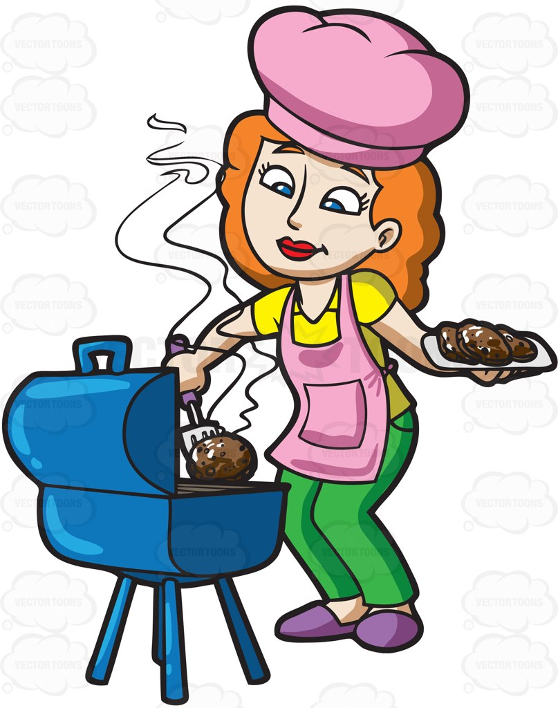 A woman grilling some burger patties » Clipart Station.