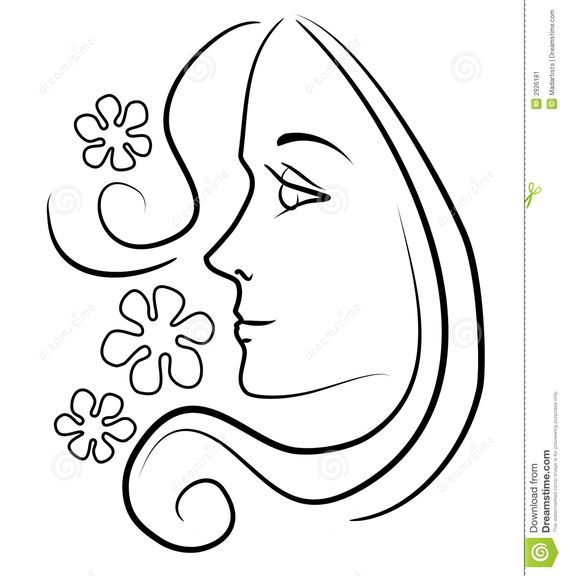 Line Art Womans Face : Woman hair clipart black and white clipground