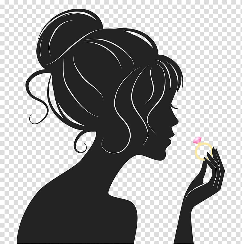 Silhouette Woman, hair silhouette transparent background PNG.